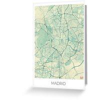 Madrid Map Blue Vintage Greeting Card