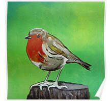 Young robin perched on a tree stump acrylic painting Poster