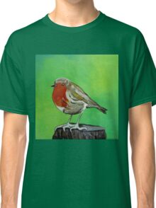 Young robin perched on a tree stump acrylic painting Classic T-Shirt