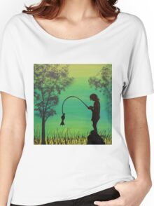 Child fishing in the river acrylic painting Women's Relaxed Fit T-Shirt