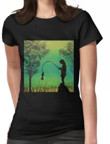 Child fishing in the river acrylic painting Womens Fitted T-Shirt