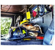 Two Firefighter's Helmets Inside Fire Truck Poster