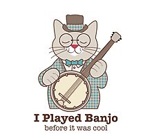 Cool Banjo Cat Photographic Print