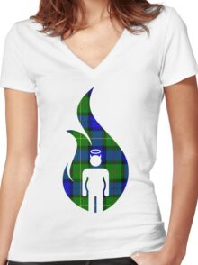 Blue and Green Beer Belly Mens Room Women's Fitted V-Neck T-Shirt