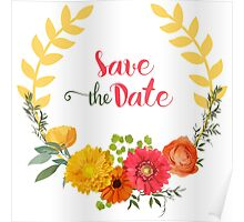 Colorful Spring Flowers Wreath-Save the date Poster
