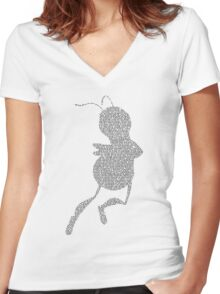 Bee Script Funny - White Women's Fitted V-Neck T-Shirt