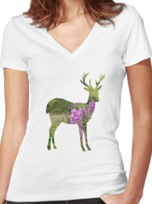 Fireweed on a Mountain Women's Fitted V-Neck T-Shirt