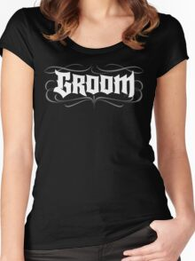 Gothic Groom Hand Lettering - Modern Grunge Tattoo Goth Wedding Rehearsal Dinner Women's Fitted Scoop T-Shirt
