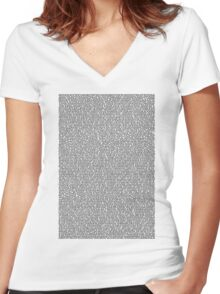 Bee Script White Women's Fitted V-Neck T-Shirt