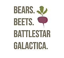 Bears. Beets. Battlestar Galactica - The Office Photographic Print