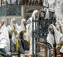 James Tissot - Jesus Unrolls the Book in the Synagogue by JBJart