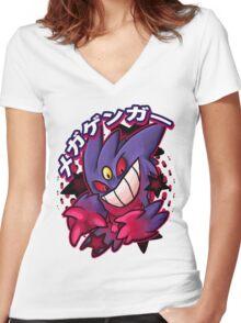 Mega Gengar Pokemon Women's Fitted V-Neck T-Shirt