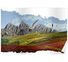 Landscape With Seagull-Oil Paint Effect PNG Poster