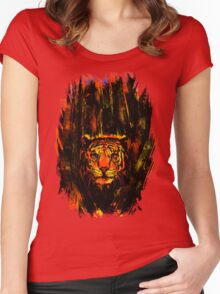 Tiger In The Bushes Women's Fitted Scoop T-Shirt