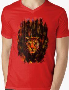 Tiger In The Bushes Mens V-Neck T-Shirt