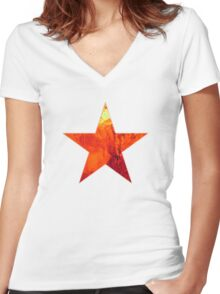 Flaming Star Women's Fitted V-Neck T-Shirt