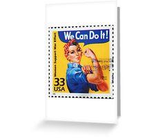 Rosie the riveter vintage stamp. Greeting Card