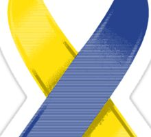 Yellow & Blue Awareness Ribbon of Support Sticker