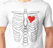 Rib cage Sketch with Heart Unisex T-Shirt