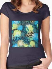 Seamless background black blue brown green  Women's Fitted Scoop T-Shirt