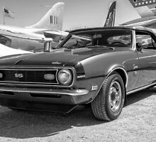 Classic Chevy Chevrolet Camaro Convertible B & W by Michael Moriarty
