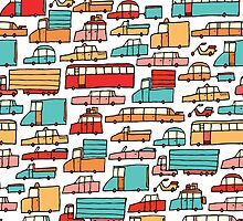 Cartoon seamless car pattern by curvabezier