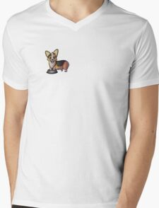 Redhead Tricolor Corgi with Paws in Bowl  Mens V-Neck T-Shirt