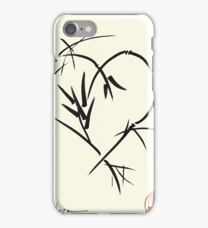 Kyuzo - Sumie ink brush black heart painting iPhone Case/Skin