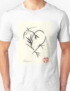 Kyuzo - Sumie ink brush black heart painting Unisex T-Shirt