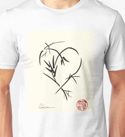Kyuzo - Sumie ink brush black heart painting Unisex T-Shirt