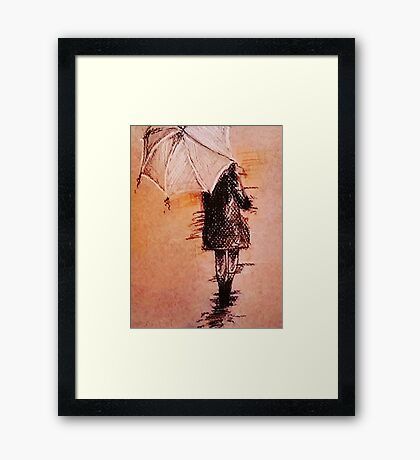 Stroll In The Rain Framed Print