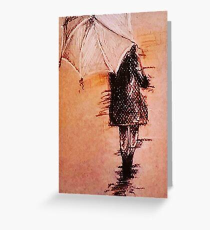 Stroll In The Rain Greeting Card