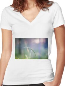 Ear with nature abstract background Women's Fitted V-Neck T-Shirt