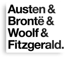 Classic Literature Authors - Black Helvetica (Austen and Bronte and Woolf and Fitzgerald) Metal Print