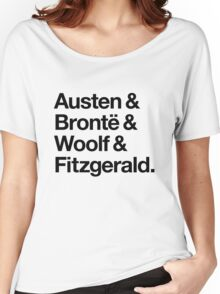 Classic Literature Authors - Black Helvetica (Austen and Bronte and Woolf and Fitzgerald) Women's Relaxed Fit T-Shirt