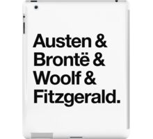 Classic Literature Authors - Black Helvetica (Austen and Bronte and Woolf and Fitzgerald) iPad Case/Skin