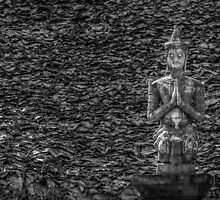 Temple Statue Monochrome by Michelle McConnell