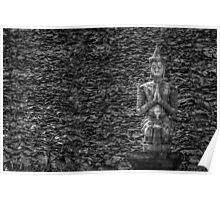 Temple Statue Monochrome Poster
