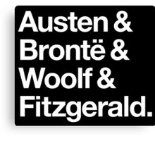 Classic Literature Authors - White Helvetica (Austen and Bronte and Woolf and Fitzgerald) Canvas Print