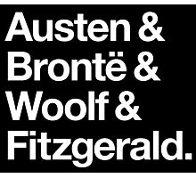 Classic Literature Authors - White Helvetica (Austen and Bronte and Woolf and Fitzgerald) Photographic Print