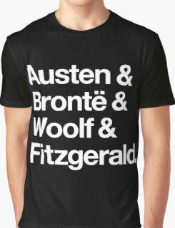 Classic Literature Authors - White Helvetica (Austen and Bronte and Woolf and Fitzgerald) Graphic T-Shirt