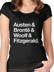 Classic Literature Authors - White Helvetica (Austen and Bronte and Woolf and Fitzgerald) Women's Fitted Scoop T-Shirt