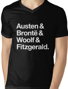 Classic Literature Authors - White Helvetica (Austen and Bronte and Woolf and Fitzgerald) Mens V-Neck T-Shirt