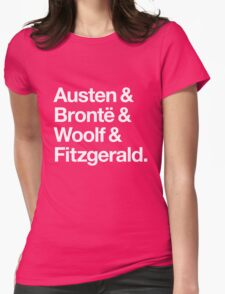 Classic Literature Authors - White Helvetica (Austen and Bronte and Woolf and Fitzgerald) Womens Fitted T-Shirt