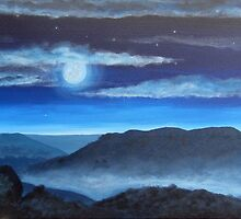 Misty Moonlit Mountains by CharliBell
