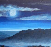 Misty Moonlit Mountains Sticker