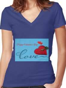 Valentine's day Women's Fitted V-Neck T-Shirt