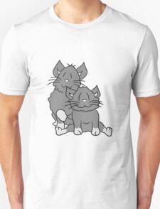 team 2 brothers few dear friends sweet cute cat, kitten, fluffy fur T-Shirt