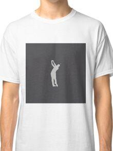 Grey Carbon Fiber Grid Pattern Golfer Swinging Club in White Classic T-Shirt