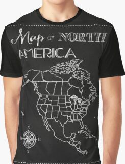 Map of North America chalkboard art, travel, black, white Graphic T-Shirt